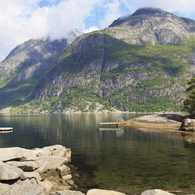 """""""Eidfjord diving board, bathing platform and mountains on a sunny day,..."""" stock image"""