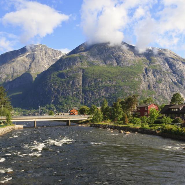 """Eidfjord River rapidly flows into Eidfjorden, Hordaland, Hardanger, Norway,..."" stock image"