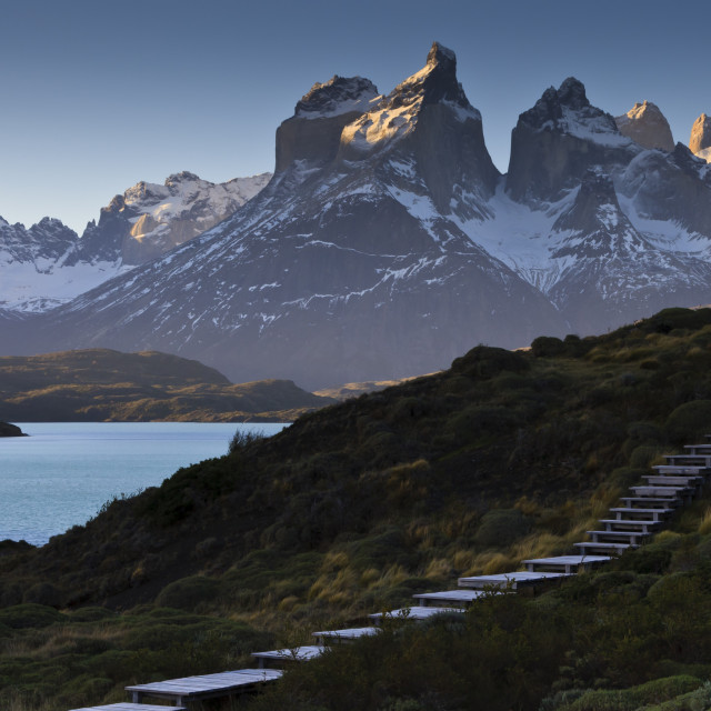"""""""Steps, Torres del Paine at sunset, Torres del Paine National Park, Patagonia,..."""" stock image"""