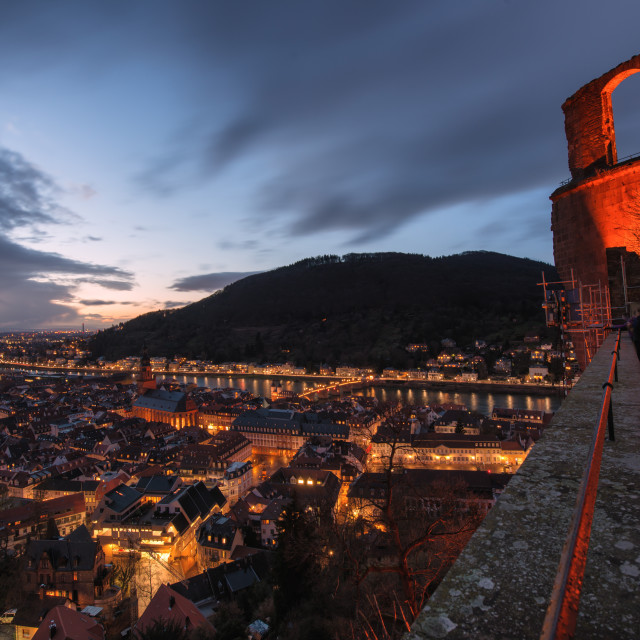 """Heidelberg Altstadt and Castle ruins with Neckar River at night,..."" stock image"