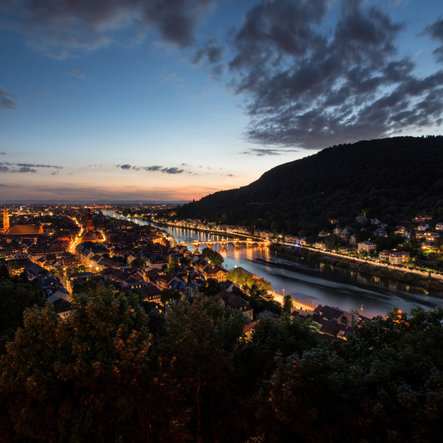 """Heidelberg's Old Town with Neckar River, Alte Brucke and Heiligenberg,..."" stock image"