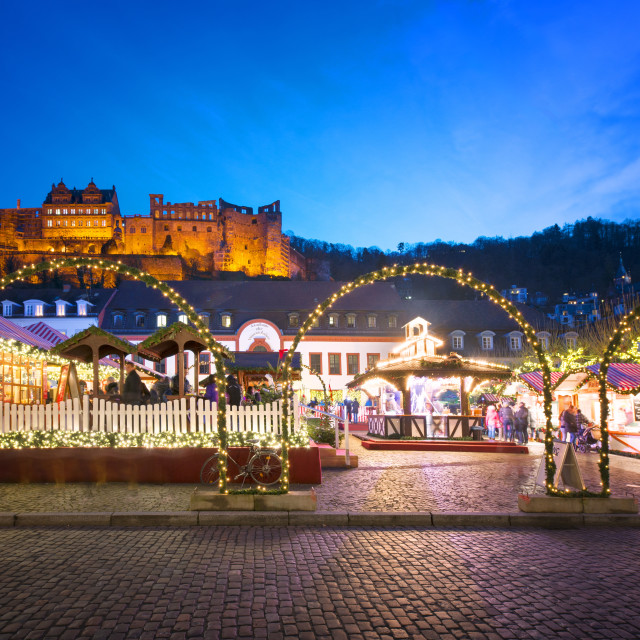 """""""Christmas Market at Karlsplatz in the old town of Heidelberg, with Castle..."""" stock image"""