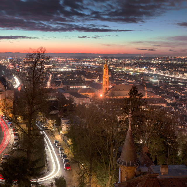 """""""Elevated nightly view of Heidelberg Altstadt (Old Town) with spires and light..."""" stock image"""