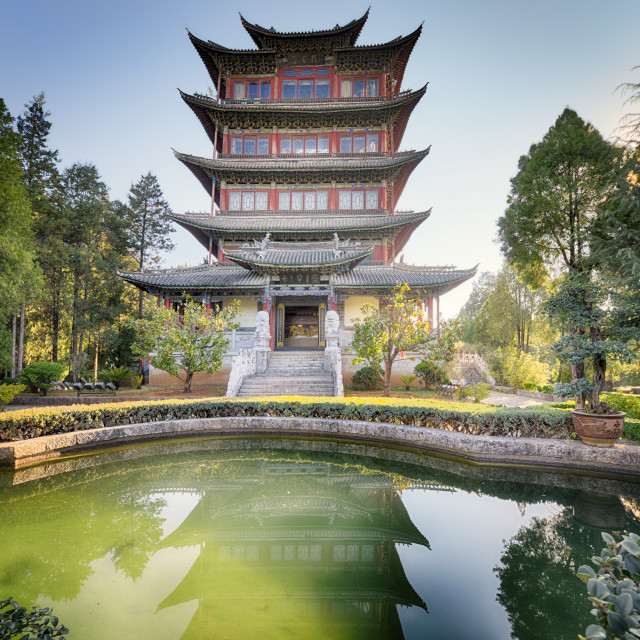 """""""Pavilion of Everlasting Clarity with emerald pool, Lijiang, Yunnan, China, Asia"""" stock image"""
