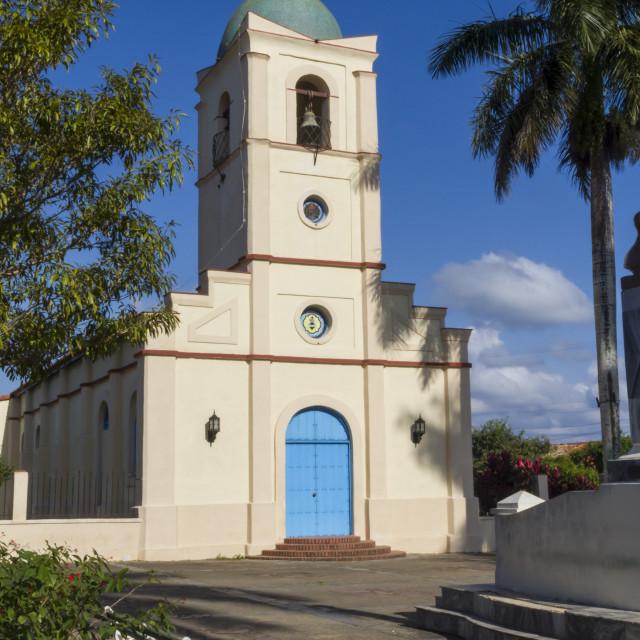 """Church and Main square, Vinales, Pinar del Rio, Cuba, West Indies, Caribbean,..."" stock image"