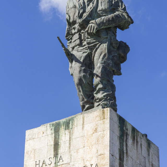 """Statue of Che (Ernesto) Guevara on his mausoleum, Santa Clara, Cuba, West..."" stock image"