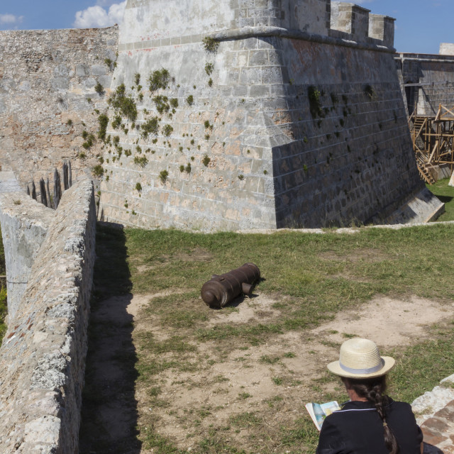 """Sketching Morro fort, Santiago, Cuba, West Indies, Caribbean, Central America"" stock image"