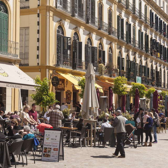 """Restaurants in Plaza del la Merced, Malaga, Andalucia, Spain, Europe"" stock image"