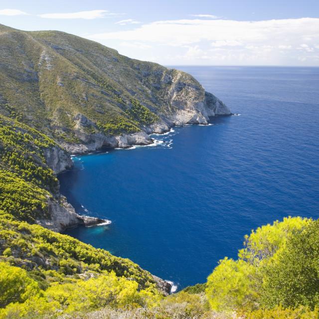 """""""View from clifftop along rocky coast, Anafonitria, Zakynthos (Zante)..."""" stock image"""