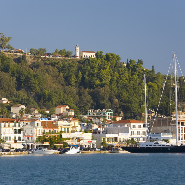 """View across harbour to the waterfront, Zakynthos Town, Zakynthos (Zante)..."" stock image"