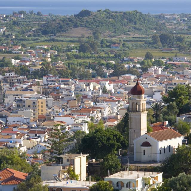 """View over city rooftops, Zakynthos Town, Zakynthos (Zante) (Zakinthos),..."" stock image"