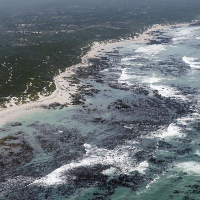 """Aerial photography of ocean and kelp beds at Walker Bay, near Hermanus,..."" stock image"