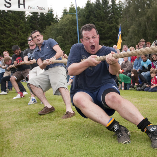 """Tug of war team Abernethy Highland Games"" stock image"