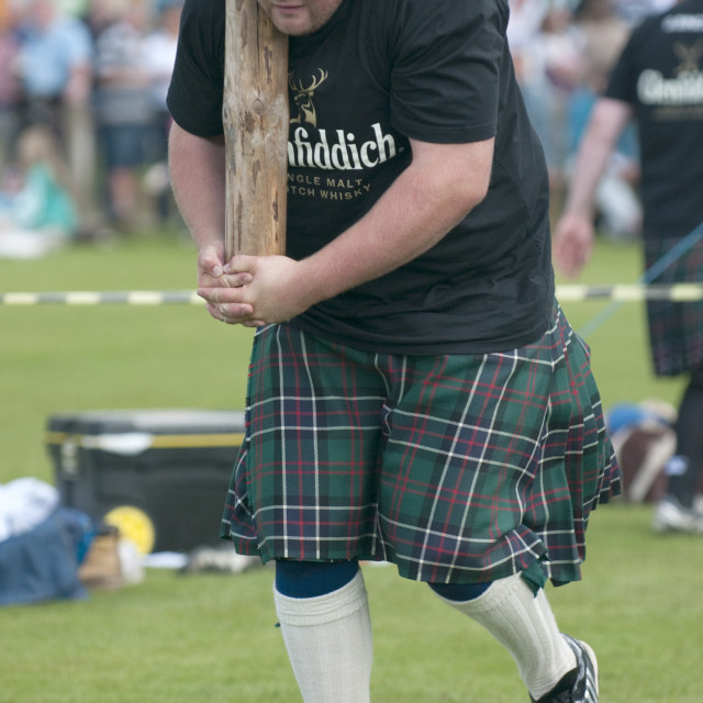 """Tossing the caber. Abernethy Highland Games"" stock image"