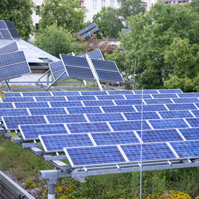 """One of the first combined photovoltaic/solar panelled and green roofs built..."" stock image"