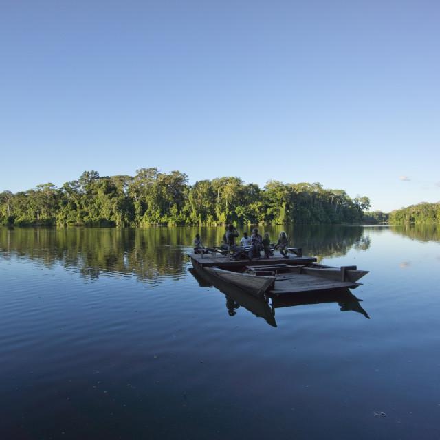 """Tourist boat on Lake Salvador, Manu National Park, UNESCO World Heritage..."" stock image"