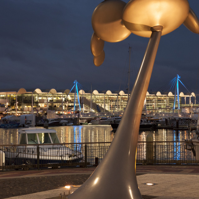 """""""Cytoplasm sculpture by Phil Price at night, Viaduct Walkway, Viaduct Events..."""" stock image"""