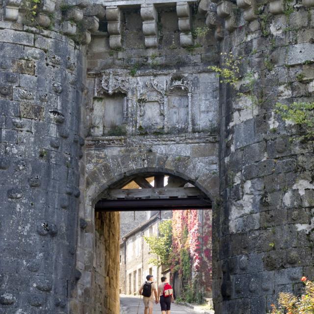 """""""Old city gate, VeÃÅzelay, Burgundy, France"""" stock image"""