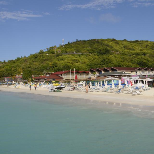 """Halcyon Hotel, Dickensons Bay, Antigua, Leeward Islands, West Indies,..."" stock image"