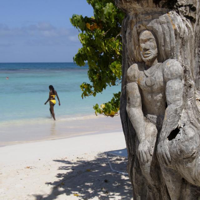 """Wooden tree sculpture, Long Bay, Antigua, Leeward Islands, West Indies,..."" stock image"