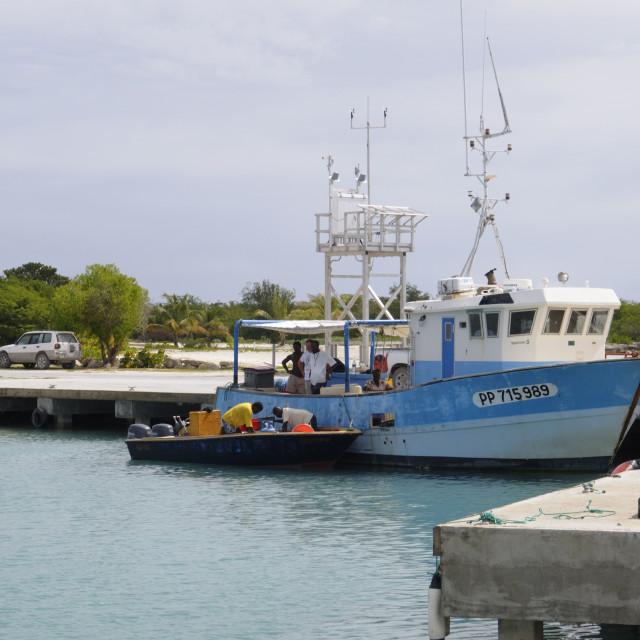 """Fishing boat in harbour in Barbuda, Antigua and Barbuda, Leeward Islands,..."" stock image"