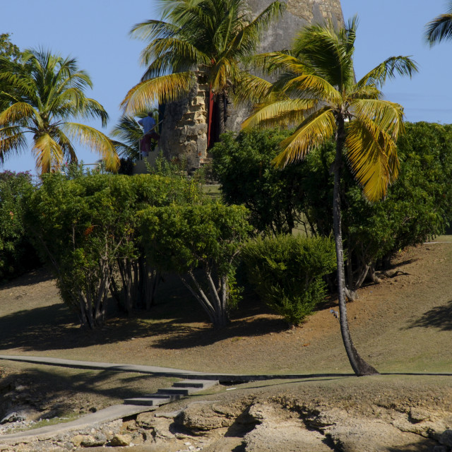 """Old sugar windmill, Hawksbill Beach, Hawksbill Hotel, Antigua, Leeward..."" stock image"