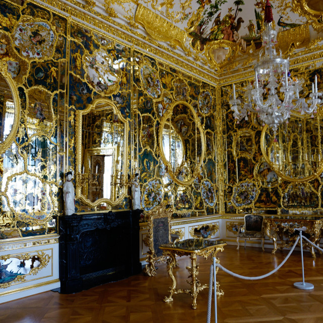 """The mirror cabinet room in the Residence Palace, UNESCO World Heritage Site,..."" stock image"