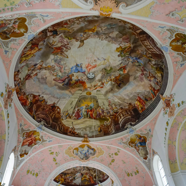 """""""Church of St. Peter and Paul, Oberammergau, Bavaria, Germany, Europe"""" stock image"""