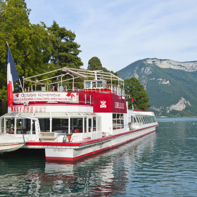 """""""Pleasure cruise boats at Annecy, Haute-Savoie, France, Europe"""" stock image"""