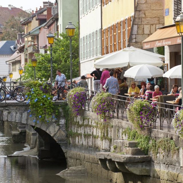 """""""A view of the canal in the old town of Annecy, Haute-Savoie, France, Europe"""" stock image"""