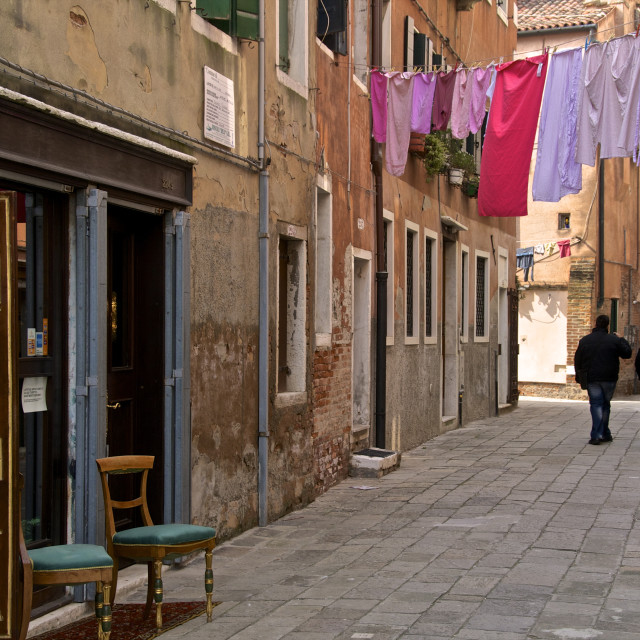 """Washing lines across the street, Castello Quarter, Venice, UNESCO World..."" stock image"