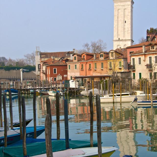 """""""Campanile and church of San Pietro di Castello, San Pietro di Castello..."""" stock image"""
