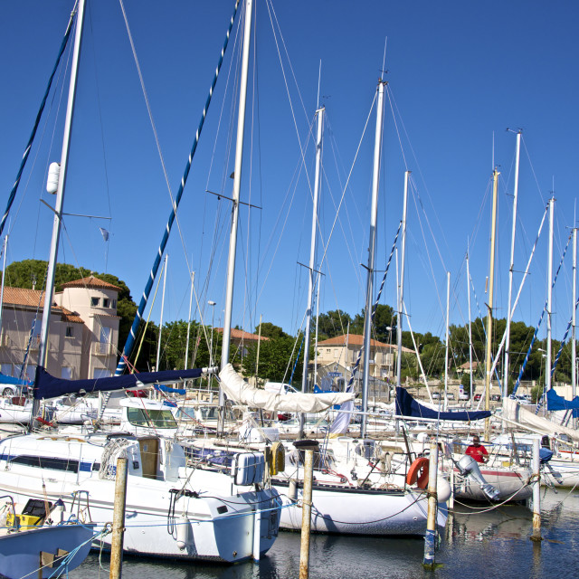 """Marina and sail boats, Bouzigues, Thau basin, Herault, Languedoc, France, Europe"" stock image"