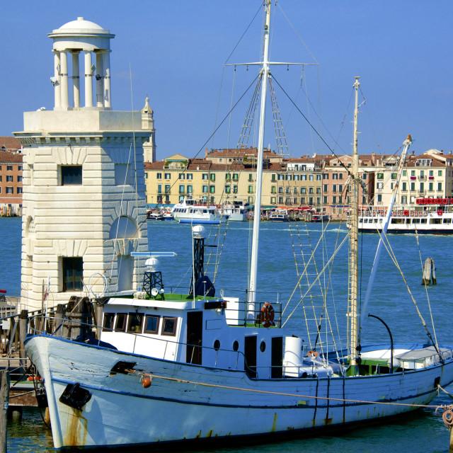 """Light house and campanile and Danieli Hotel, seen from Isola di San Giorgio..."" stock image"