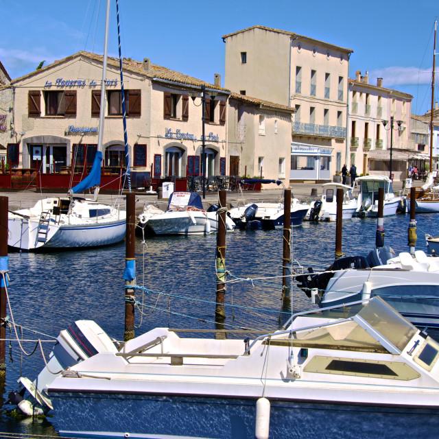 """Tourist boats in marina in Marseillan harbor, Herault, Languedoc-Roussillon..."" stock image"