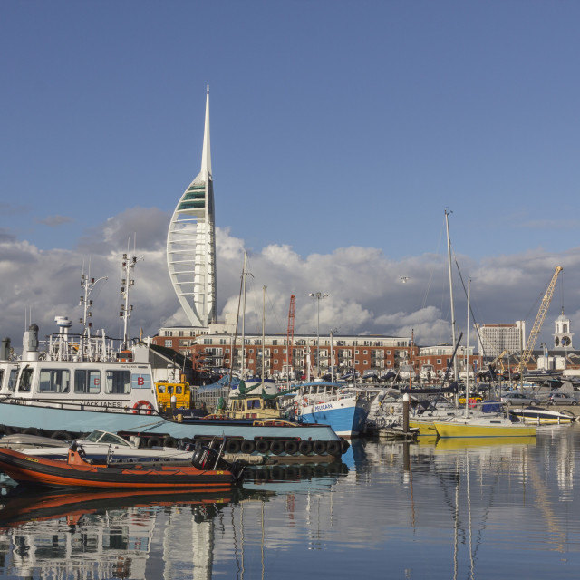 """""""Spinnaker Tower and Camber Docks, Portsmouth, Hampshire, England, United..."""" stock image"""
