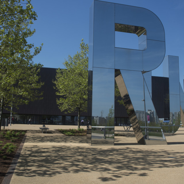 """""""Front of the Copper Box Arena, Queen Elizabeth Olympic Park, Stratford,..."""" stock image"""