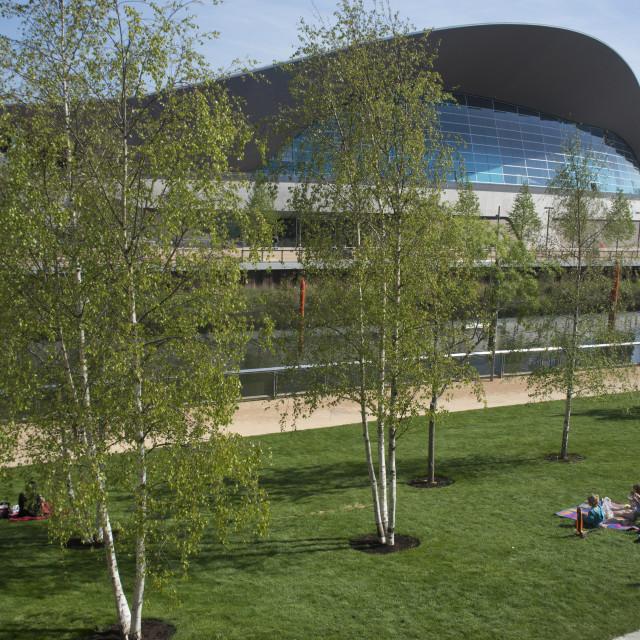 """The Aquatic Centre, Queen Elizabeth Olympic Park, Stratford, London, E20,..."" stock image"