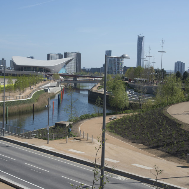 """""""View of the Queen Elizabeth Olympic Park, Stratford, London, E20, England,..."""" stock image"""