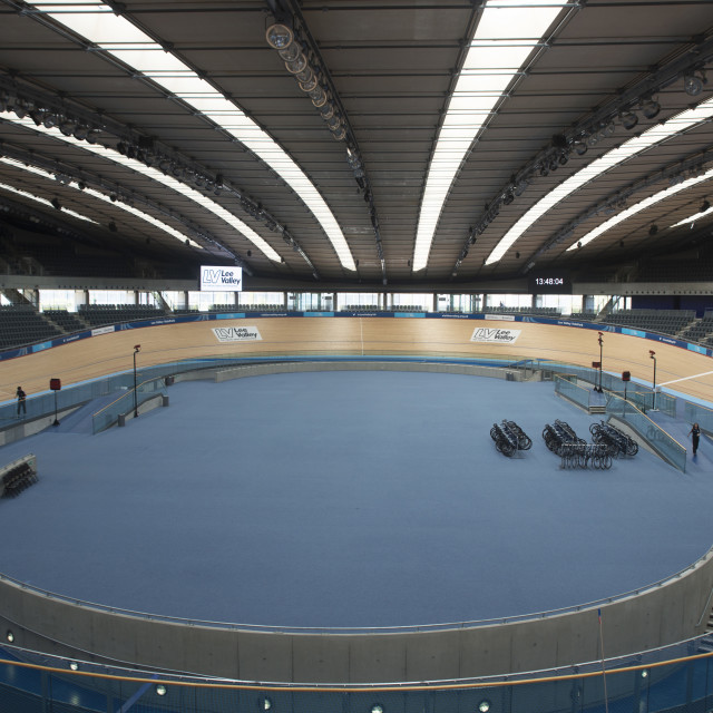 """""""Inside bicycle track in the Velodrome, Queen Elizabeth Olympic Park,..."""" stock image"""