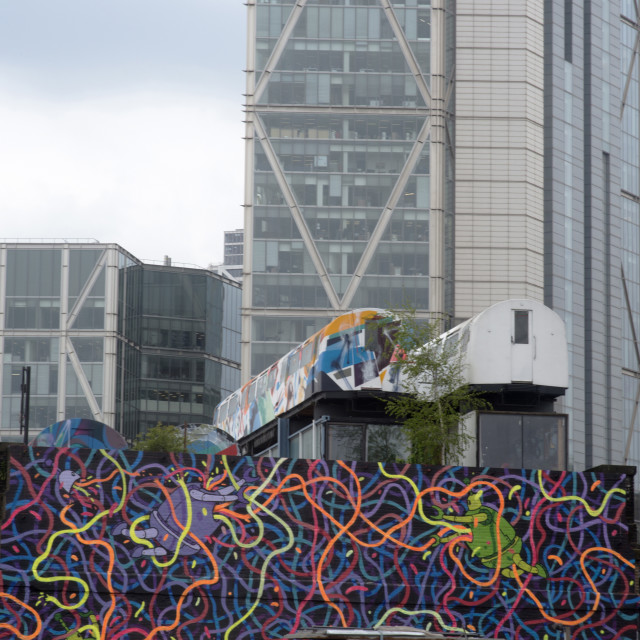 """""""Back of Great Eastern Street, Shoreditch and Hoxton area street art, London,..."""" stock image"""