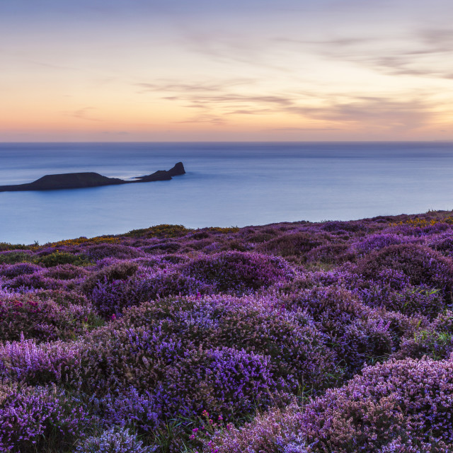 """Rhossili Bay, Worms End, Gower Peninsula, Wales, United Kingdom, Europe"" stock image"