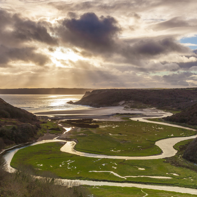 """""""Pennard Pill, overlooking Three Cliffs Bay, Gower, Wales, United Kingdom, Europe"""" stock image"""