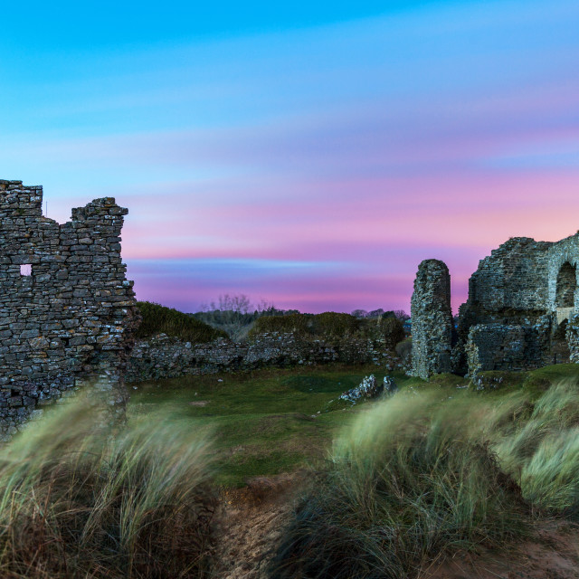 """""""Pennard Castle, overlooking Three Cliffs Bay, Gower, Wales, United Kingdom,..."""" stock image"""