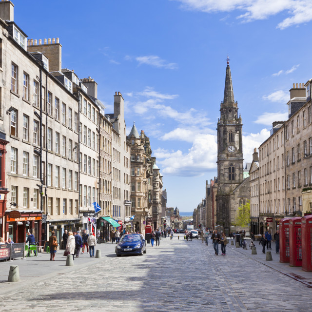 """The High Street in Edinburgh old town, the Royal Mile, Edinburgh, Lothian,..."" stock image"