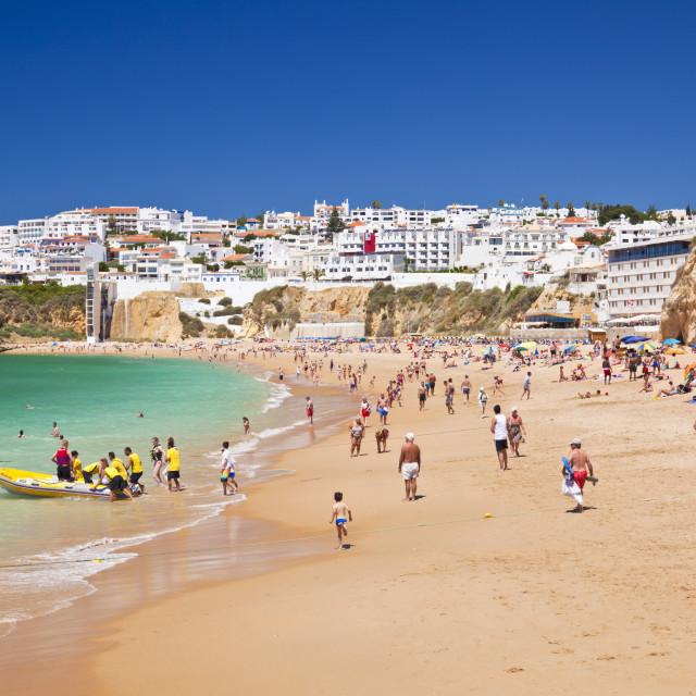 """Holidaymakers on Fishermans Beach (Praia dos Pescadores), Albufeira Beach,..."" stock image"