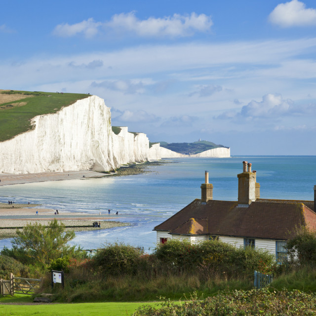 """""""The Seven Sisters cliffs, the coastguard cottages South Downs Way, South..."""" stock image"""