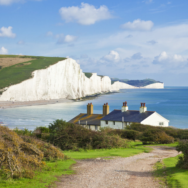 """""""The Seven Sisters chalk cliffs and coastguard cottages, South Downs Way,..."""" stock image"""