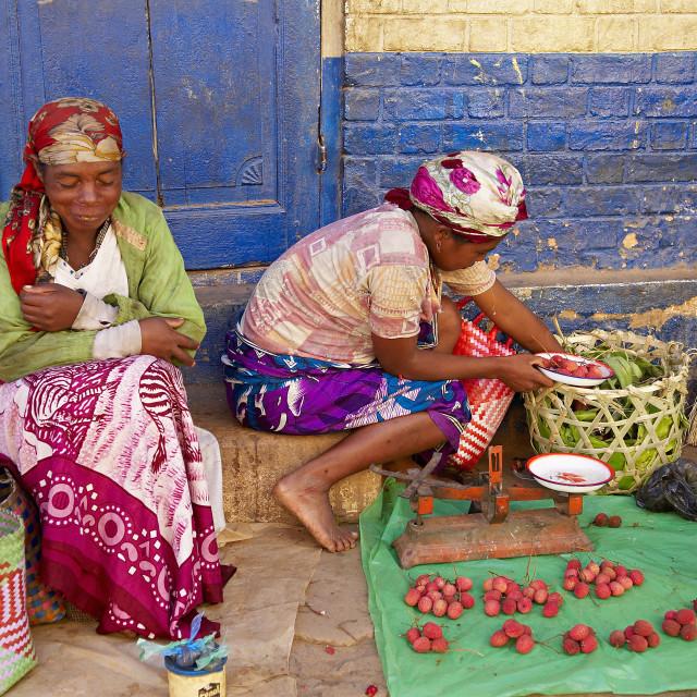 """""""Local market, Betsileo city, Ambositra, Madagascar, Africa"""" stock image"""