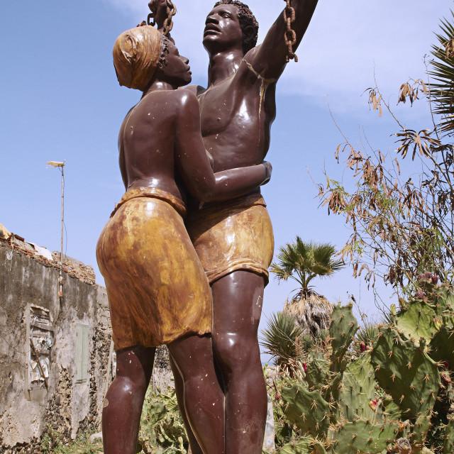"""The statue of slavery freedom, Goree Island (Ile de Goree), UNESCO World..."" stock image"